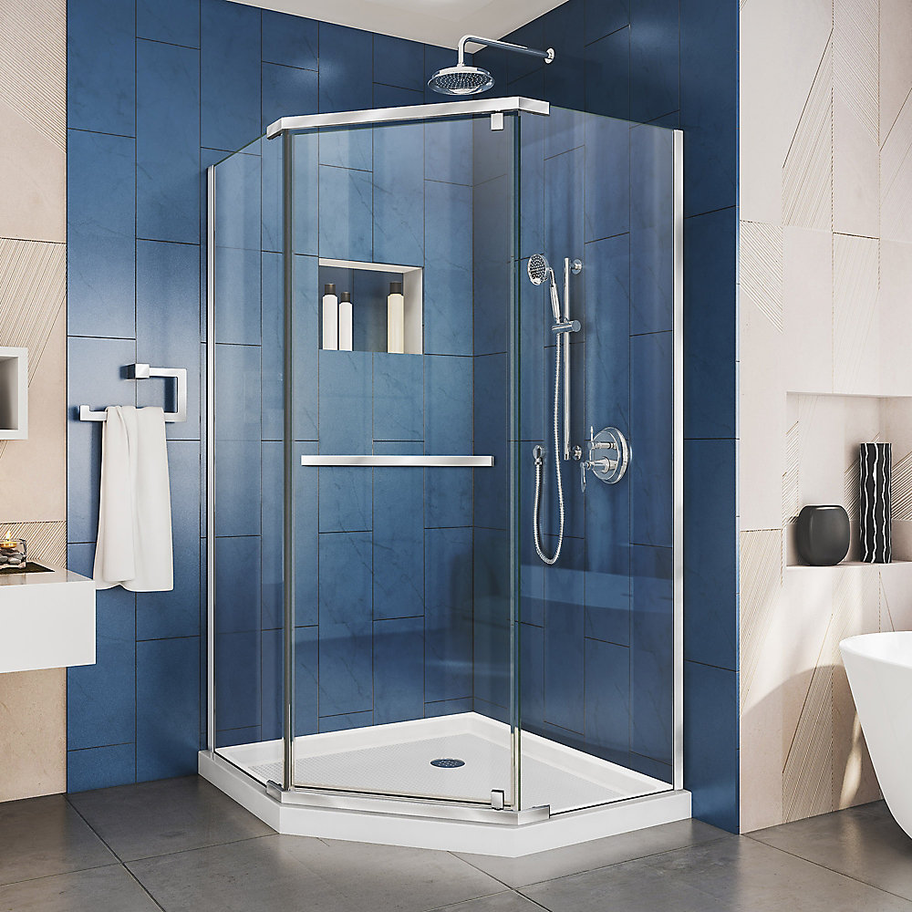 Prism 36 inch D x 36 inch W x 74 3/4 H Shower Enclosure in Chrome and Corner Drain White Base Kit