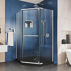 DreamLine Prism 36 inch D x 36 inch W x 74 3/4 H Shower Enclosure in Chrome and Corner Drain Black Base Kit