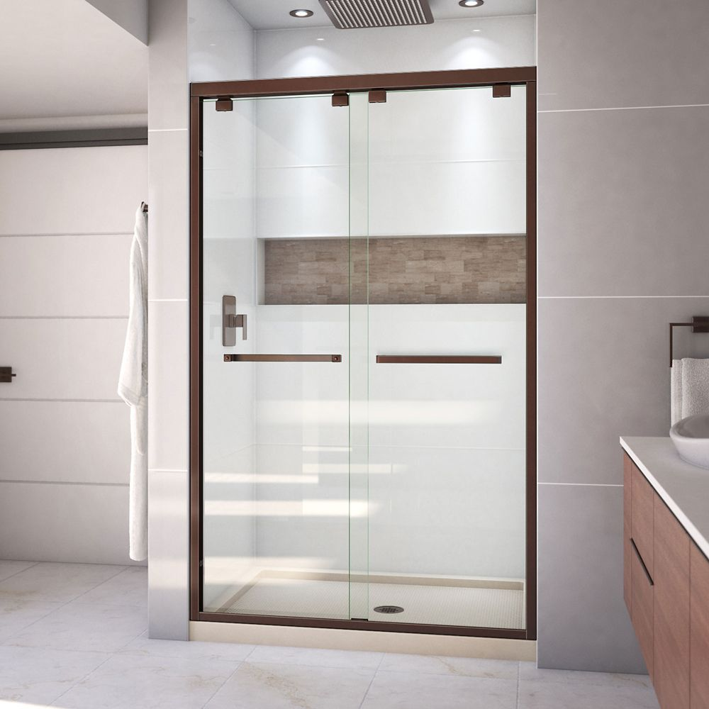 DreamLine Encore 36 inch D x 48 inch W Shower Door in Oil Rubbed Bronze and Center Drain Biscuit Base Kit