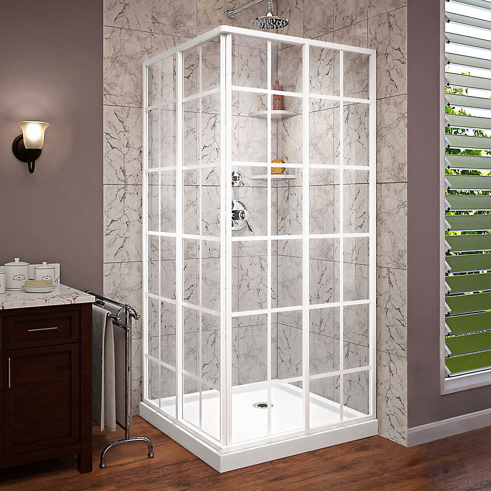 French Corner 36 inch D x 36 inch W Shower Enclosure in White and Corner Drain White Base Kit