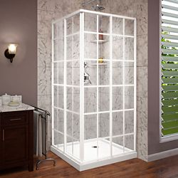 DreamLine French Corner 36 inch D x 36 inch W Shower Enclosure in White and Corner Drain White Base Kit
