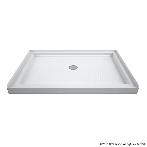 SlimLine 32 inch D x 42 inch W x 2 3/4 inch H Center Drain Single Threshold Shower Base in White