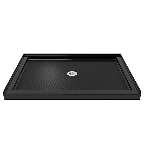 SlimLine 32 inch D x 42 inch W x 2 3/4 inch H Center Drain Single Threshold Shower Base in Black