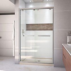 DreamLine Encore 36 inch D x 48 inch W Shower Door in Brushed Nickel with Center Drain Biscuit Base Kit