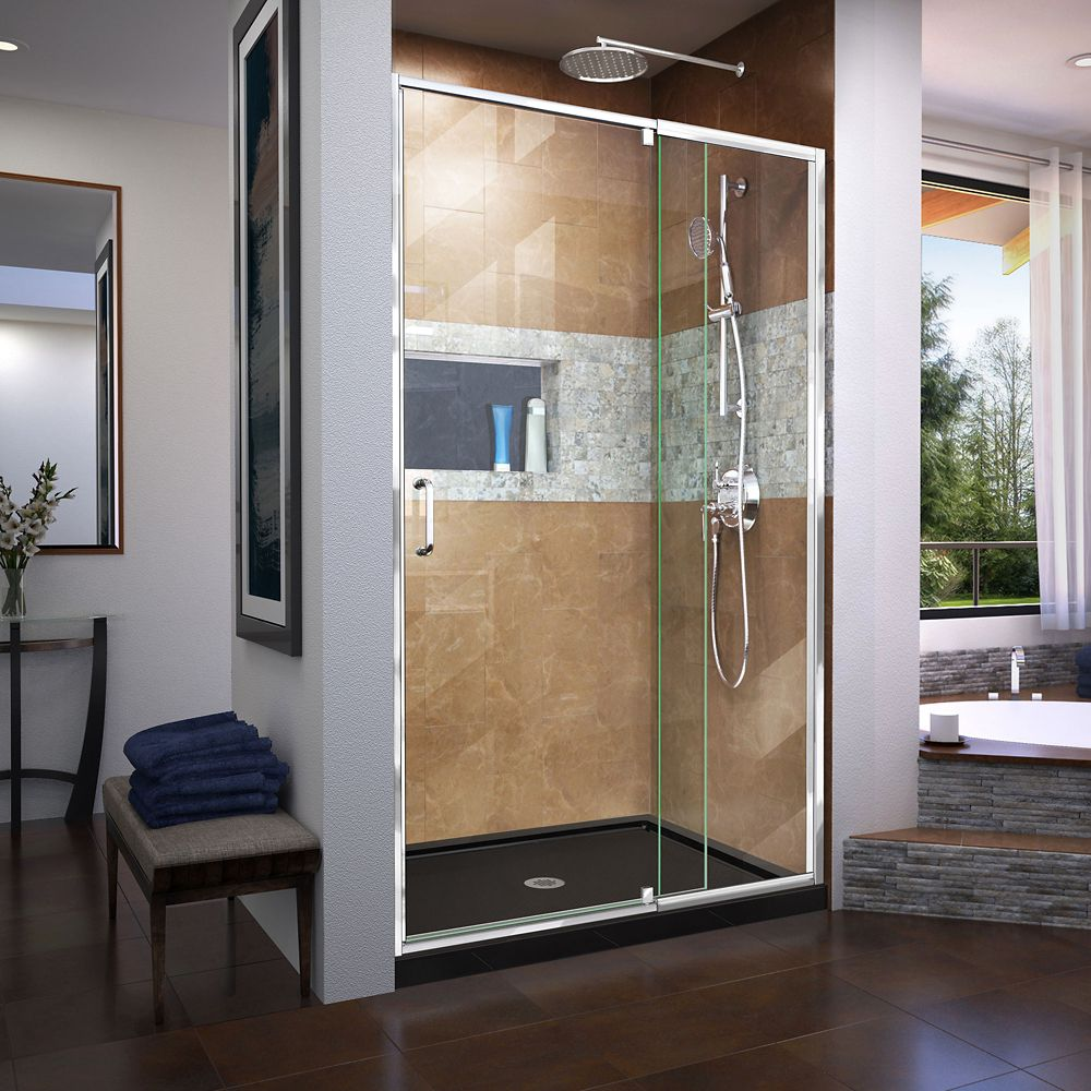 DreamLine Flex 32 inch D x 42 inch W x 74 3/4 inch H Shower Door in Chrome with Center Drain Black Base Kit