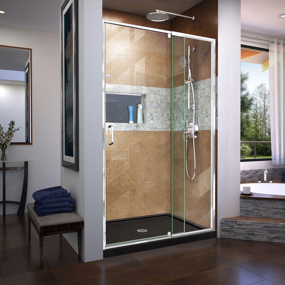 DreamLine Flex 36 inch D x 48 inch W x 74 3/4 inch H Shower Door in Chrome with Center Drain Black Base Kit