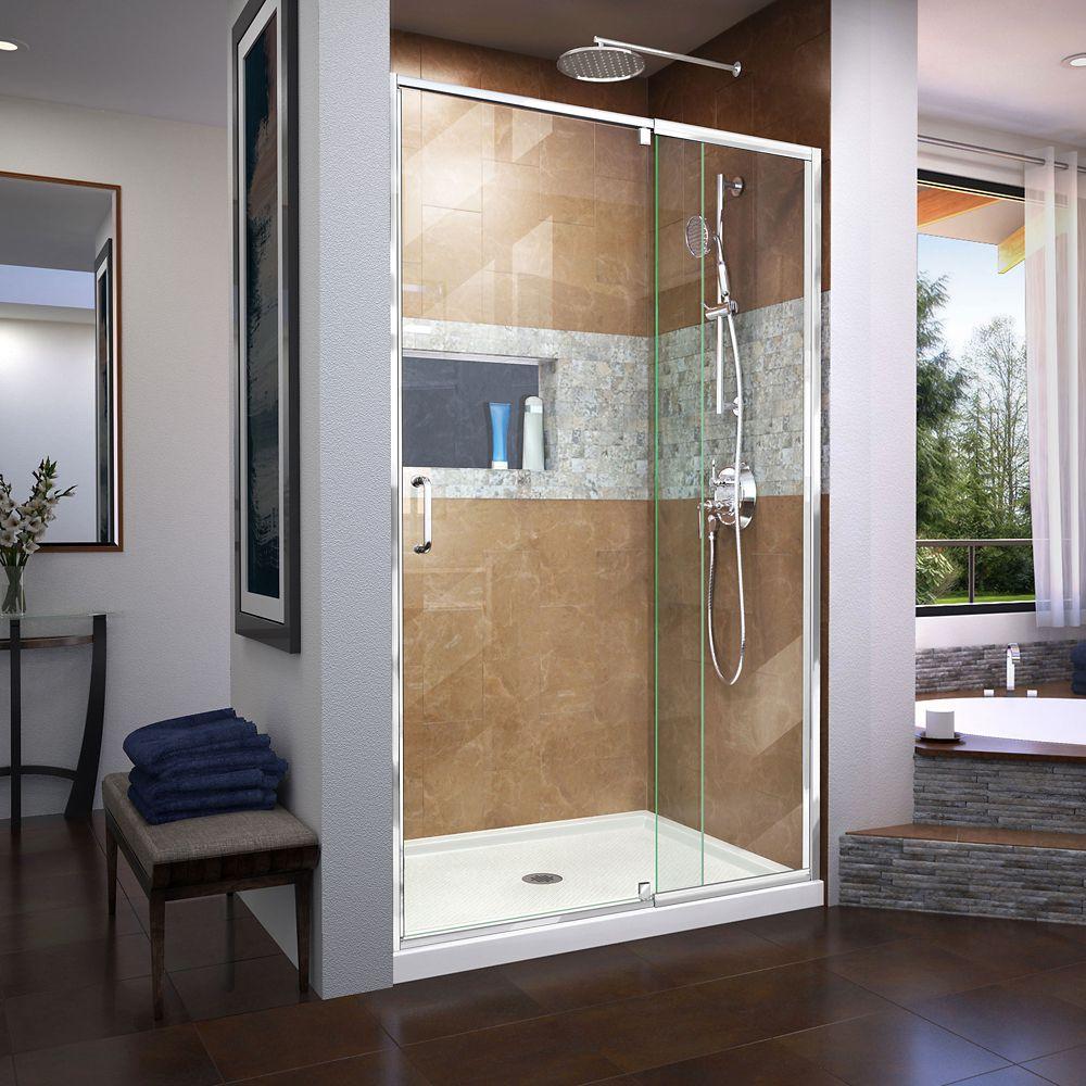 DreamLine Flex 36 inch D x 48 inch W x 74 3/4 inch H Shower Door in Chrome with Center Drain White Base Kit