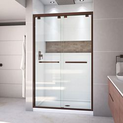 DreamLine Encore 34 inch D x 48 inch W Shower Door in Oil Rubbed Bronze and Center Drain White Base Kit