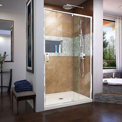 DreamLine Flex 34 inch D x 42 inch W x 74 3/4 inch H Shower Door in Chrome with Center Drain Biscuit Base Kit