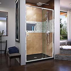 DreamLine Flex 34 inch D x 42 inch W x 74 3/4 inch H Shower Door in Chrome with Center Drain Black Base Kit