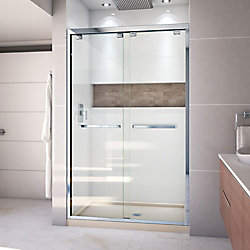 DreamLine Encore 32 inch D x 48 inch W x 78 3/4 inch H Shower Door in Chrome and Center Drain Biscuit Base Kit
