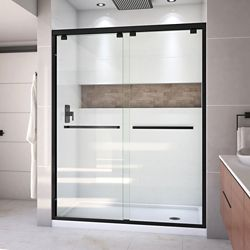 DreamLine Encore 36 inch D x 60 inch W x 78 3/4 inch H Shower Door in Satin Black and Right Drain White Base