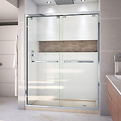 DreamLine Encore 36 inch D x 60 inch W x 78 3/4 inch H Shower Door in Chrome and Right Drain Biscuit Base Kit