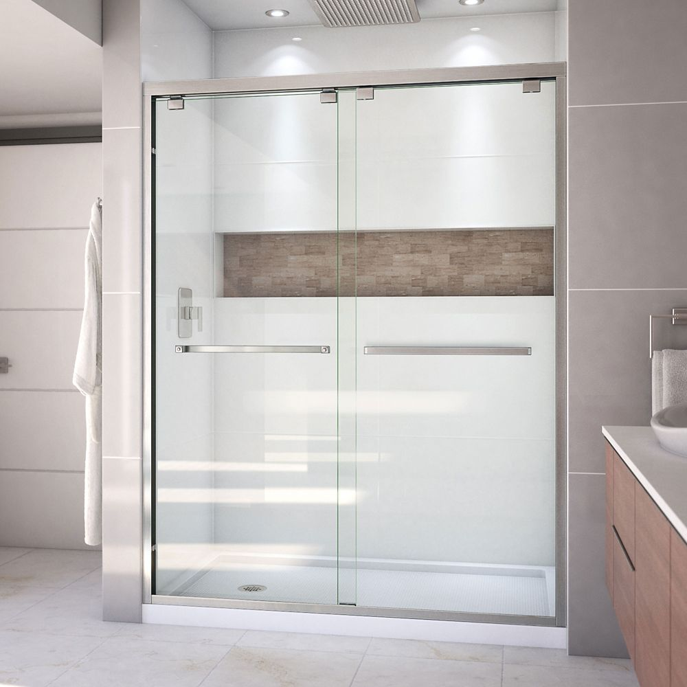 DreamLine Encore 36 inch D x 60 inch W Shower Door in Brushed Nickel and Left Drain White Base Kit