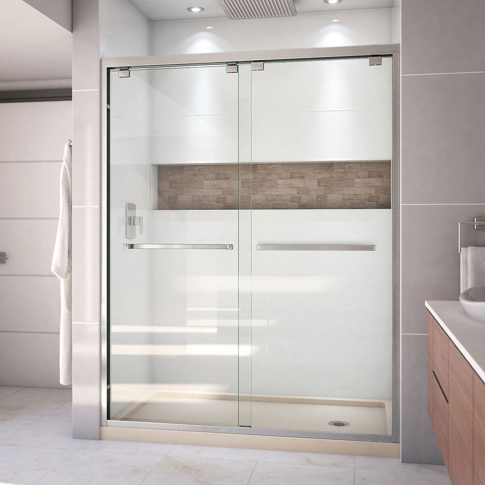 DreamLine Encore 34 inch D x 60 inch W Shower Door in Brushed Nickel and Right Drain Biscuit Base Kit
