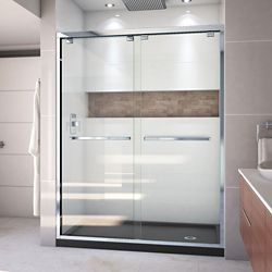 DreamLine Encore 34 inch D x 60 inch W x 78 3/4 inch H Shower Door in Chrome and Right Drain Black Base Kit