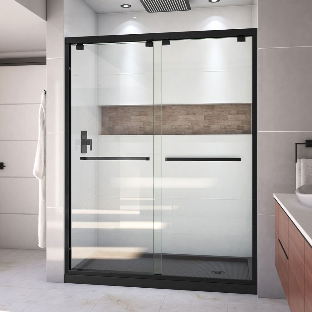 DreamLine Encore 34 inch D x 60 inch W x 78 3/4 inch H Shower Door in Satin Black and Right Drain Black Base