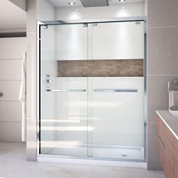 DreamLine Encore 34 inch D x 60 inch W x 78 3/4 inch H Shower Door in Chrome and Right Drain White Base Kit