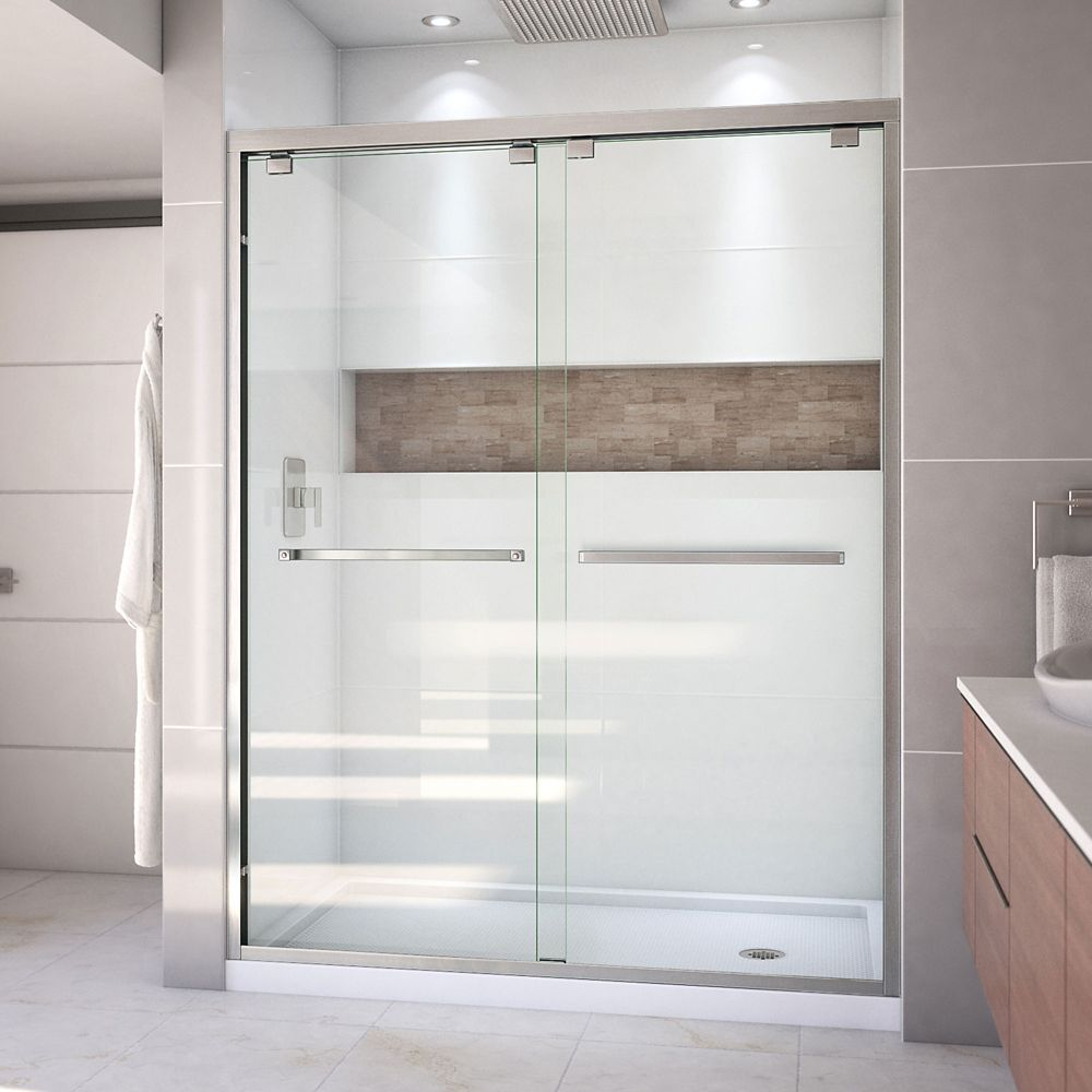 DreamLine Encore 32 inch D x 60 inch W Shower Door in Brushed Nickel and Right Drain White Base Kit