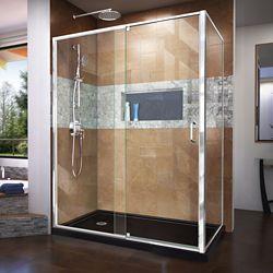 DreamLine Flex 36 inch D x 60 inch W x 74 3/4 inch H Shower Enclosure in Chrome with Left Drain Black Base Kit