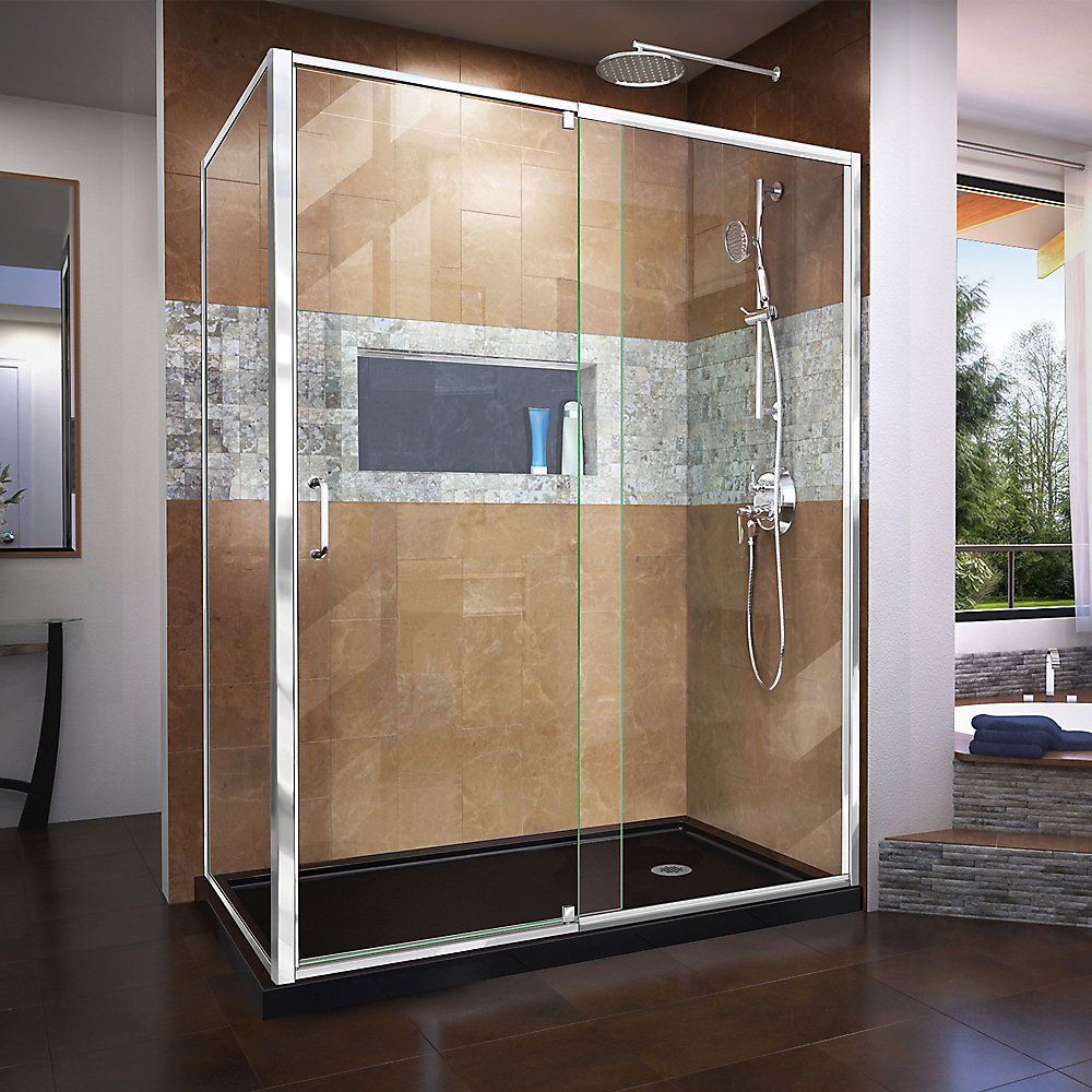 Flex 36 inch D x 60 inch W x 74 3/4 inch H Shower Enclosure in Chrome with Right Drain Black Base