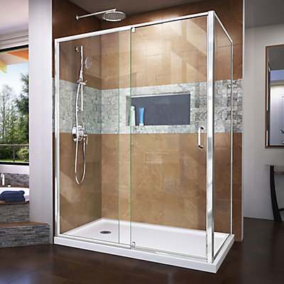 DreamLine Flex 36 inch D x 60 inch W x 74 3/4 inch H Shower ...