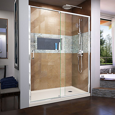 DreamLine Flex 36 inch D x 60 inch W x 74 3/4 inch H Shower Door in ...