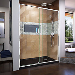 DreamLine Flex 36 inch D x 60 inch W x 74 3/4 inch H Shower Door in Chrome with Right Drain Black Base Kit