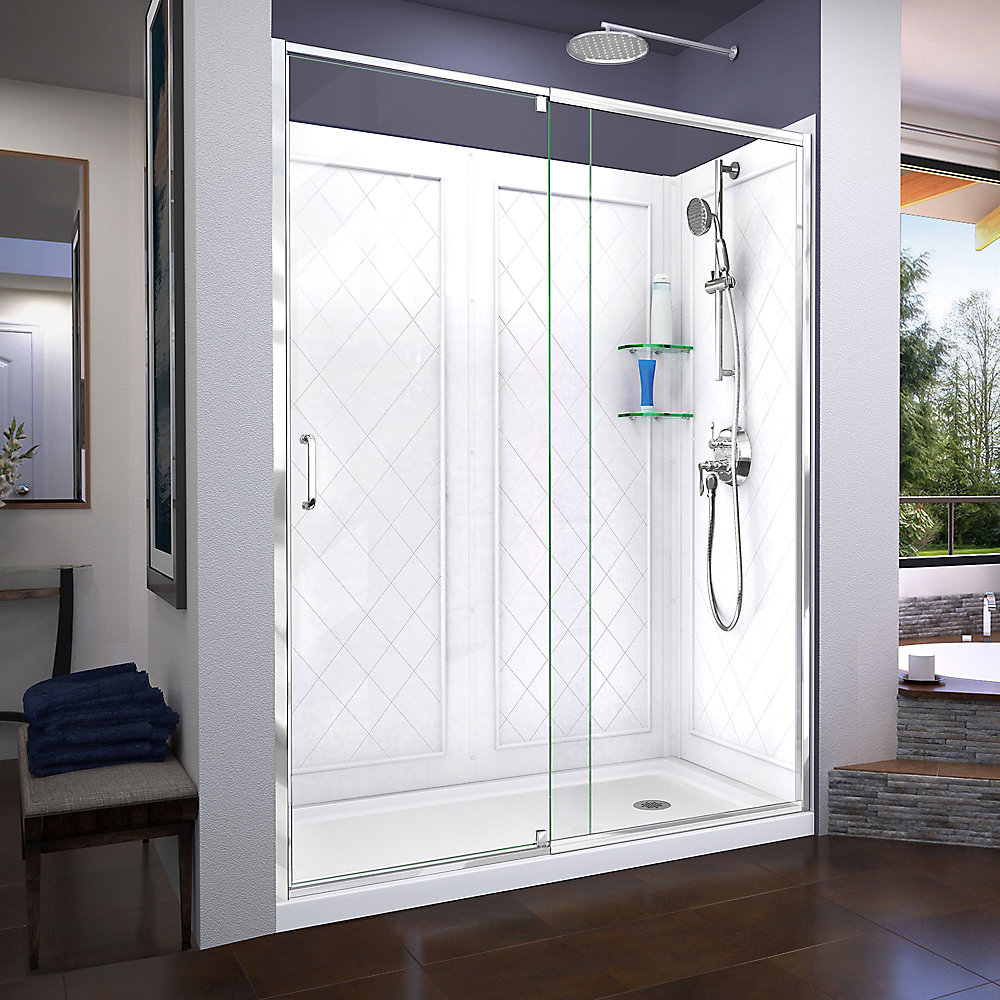 Flex 32 inch D x 60 inch W Shower Door in Chrome with Right Drain White Base and Backwall Kit
