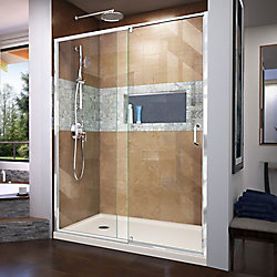 DreamLine Flex 34 inch D x 60 inch W x 74 3/4 inch H Shower Door in Chrome with Left Drain Biscuit Base Kit