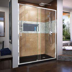 DreamLine Flex 32 inch D x 60 inch W x 74 3/4 inch H Shower Door in Chrome with Right Drain Black Base Kit