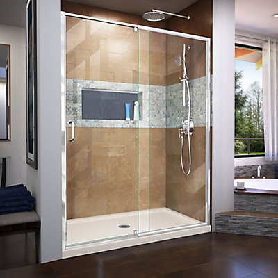 DreamLine Flex 32 inch D x 60 inch W x 74 3/4 inch H Shower Door in ...