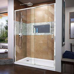 DreamLine Flex 32 inch D x 60 inch W x 74 3/4 inch H Shower Door in Chrome with Left Drain White Base Kit