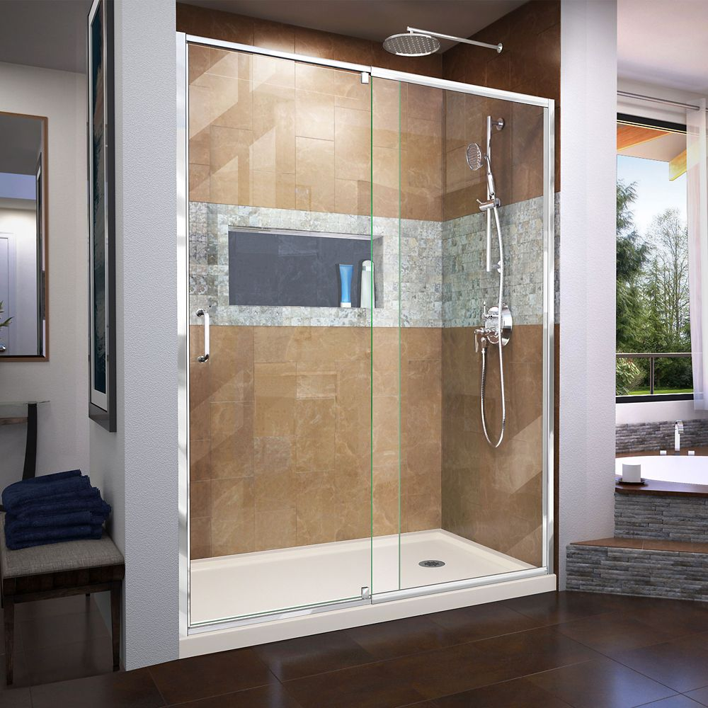 DreamLine Flex 30 inch D x 60 inch W x 74 3/4 inch H Shower Door in Chrome with Right Drain Biscuit Base Kit