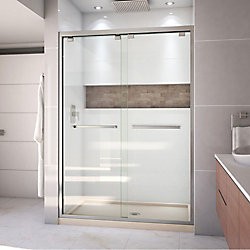 DreamLine Encore 32 inch D x 54 inch W Shower Door in Brushed Nickel and Center Drain Biscuit Base Kit