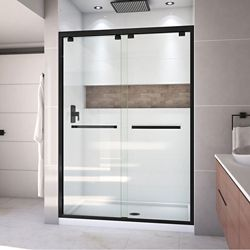 DreamLine Encore 32 inch D x 54 inch W x 78 3/4 inch H Shower Door in Satin Black and Center Drain White Base