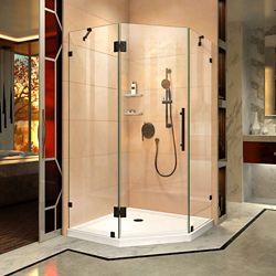 DreamLine Prism Lux 42 inch D x 42 inch W Shower Enclosure in Satin Black with Corner Drain White Base Kit