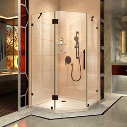 DreamLine Prism Lux 40 inch D x 40 inch W Shower Enclosure in Oil Rubbed Bronze, Corner Drain Biscuit Base Kit