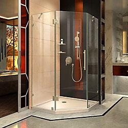 DreamLine Prism Lux 38 inch D x 38 inch W Shower Enclosure in Brushed Nickel, Corner Drain Biscuit Base Kit