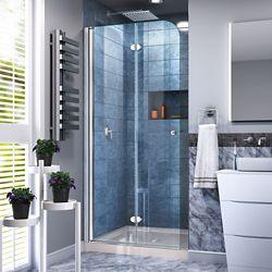 DreamLine Aqua Fold 32 inch D x 32 inch W Bi-Fold Shower Door in Chrome with Biscuit Acrylic Base Kit