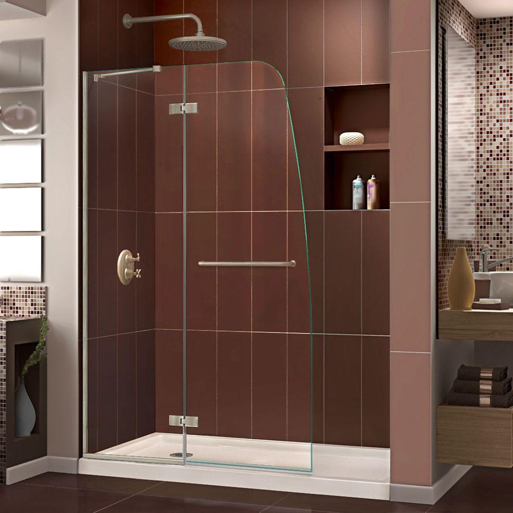 DreamLine Aqua Ultra 32 inch D x 60 inch W Shower Door in Brushed Nickel and Left Drain Biscuit Base Kit