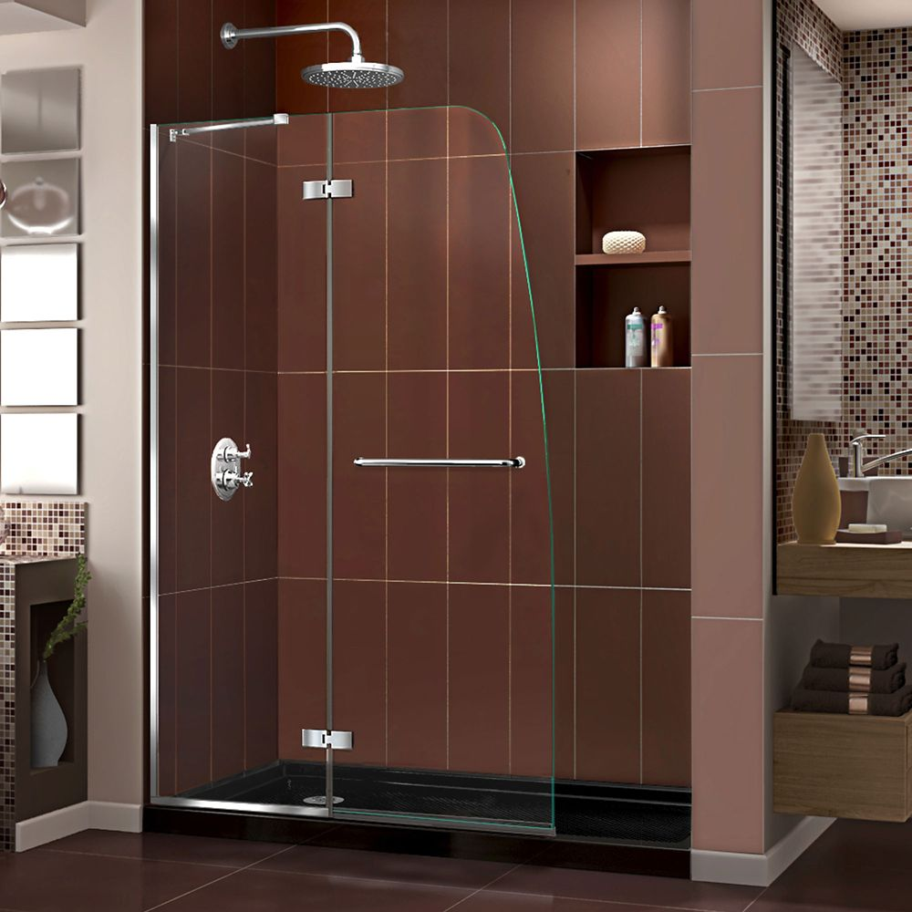 DreamLine Aqua Ultra 34 inch D x 60 inch W x 74 3/4 inch H Shower Door in Chrome and Left Drain Black Base