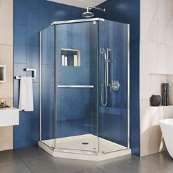 DreamLine Prism 40 inch D x 40 inch W x 74 3/4 H Shower Enclosure in Chrome and Corner Drain Biscuit Base Kit