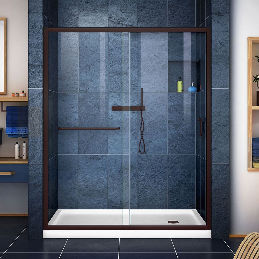 DreamLine Infinity-Z 36 inch D x 60 inch W Clear Shower Door in Oil Rubbed Bronze and Right Drain White Base