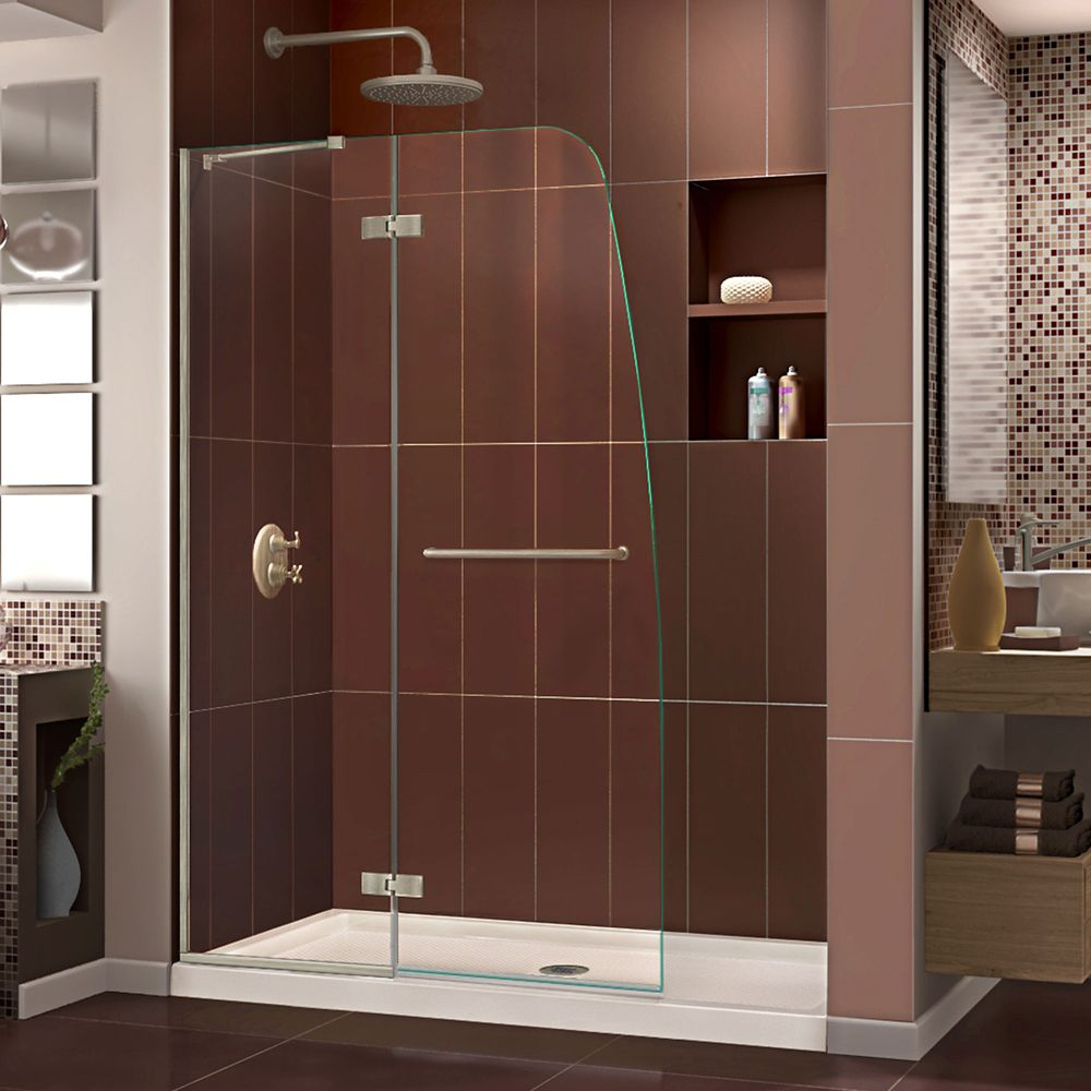 DreamLine Aqua Ultra 30 inch D x 60 inch W Shower Door in Brushed Nickel and Center Drain Biscuit Base Kit