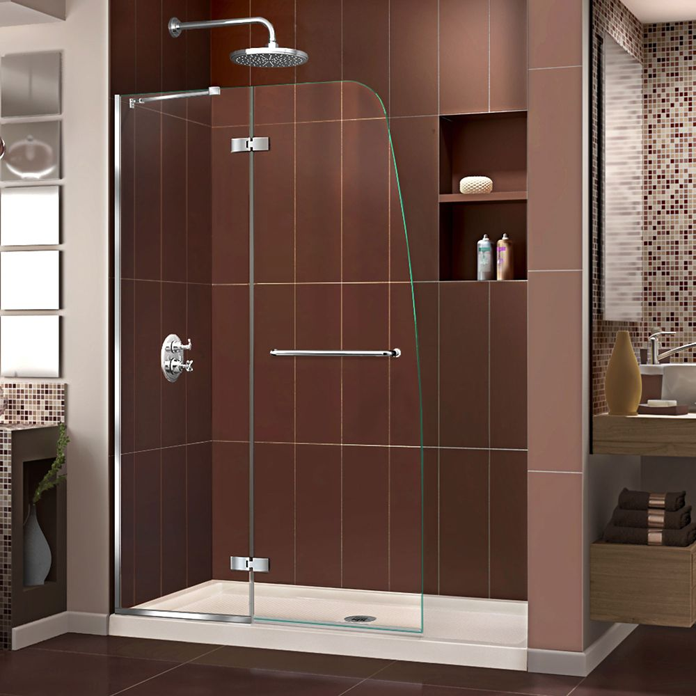 DreamLine Aqua Ultra 36 inch D x 48 inch W Shower Door in Chrome and Center Drain Biscuit Base Kit