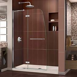 DreamLine Aqua Ultra 30 inch D x 60 inch W Shower Door in Chrome and Center Drain Biscuit Base Kit
