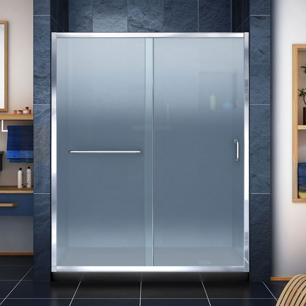 DreamLine Infinity-Z 32 inch D x 60 inch W Frosted Shower Door in Chrome and Right Drain Black Base