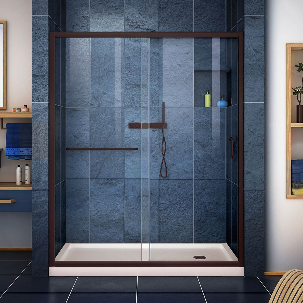 DreamLine Infinity-Z 30 inch D x 60 inch W Clear Shower Door in Oil Rubbed Bronze, Right Drain Biscuit Base