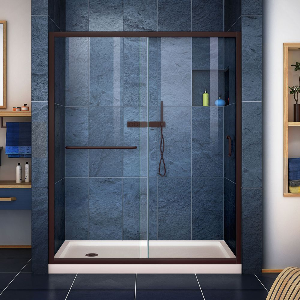 DreamLine Infinity-Z 30 inch D x 60 inch W Clear Shower Door in Oil Rubbed Bronze and Left Drain Biscuit Base